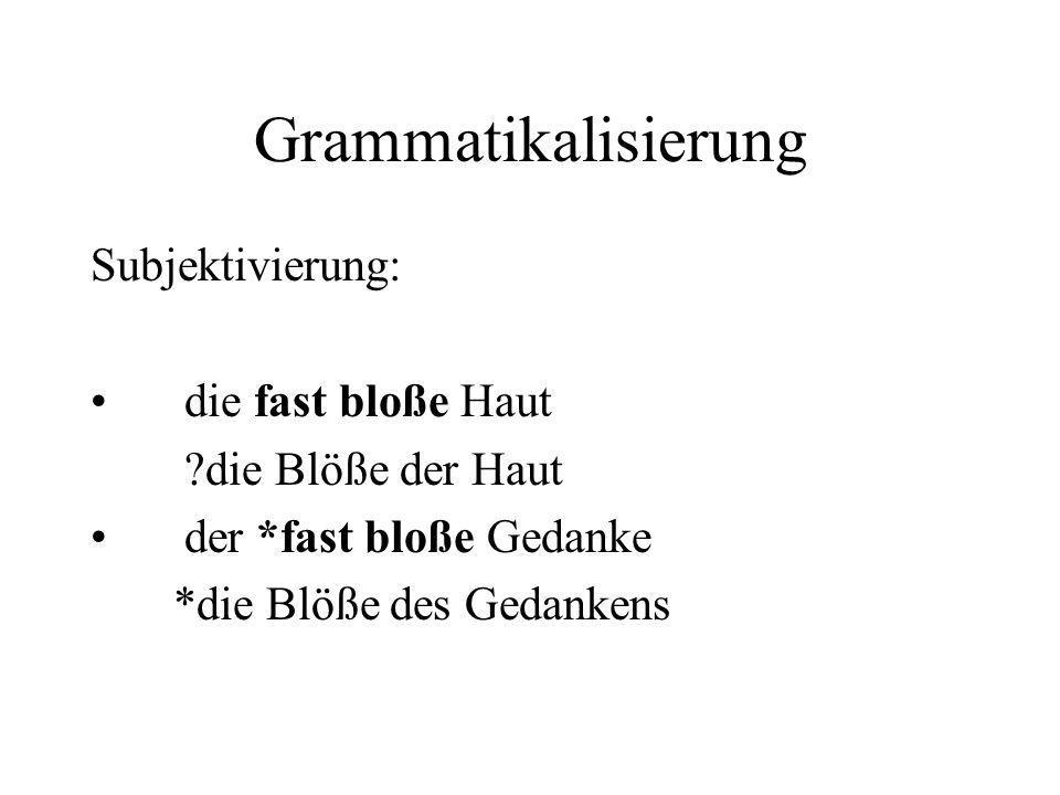 Grammatikalisierung Subjektivierung: die fast bloße Haut ?die Blöße der Haut der *fast bloße Gedanke *die Blöße des Gedankens
