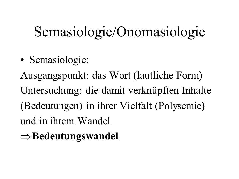 Semasiologie/Onomasiologie Onomasiologie: Ausgangspunkt: Inhalte Untersuchung: verschiedene Lautformen (Bezeichnungen), welche den betreffenden Inhalt bezeichnen können => Bezeichnungswandel