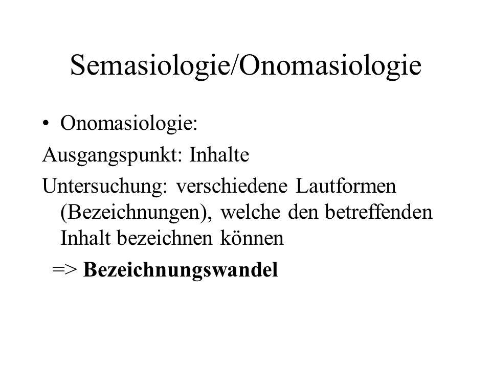 Semasiologie/Onomasiologie Onomasiologie: Ausgangspunkt: Inhalte Untersuchung: verschiedene Lautformen (Bezeichnungen), welche den betreffenden Inhalt