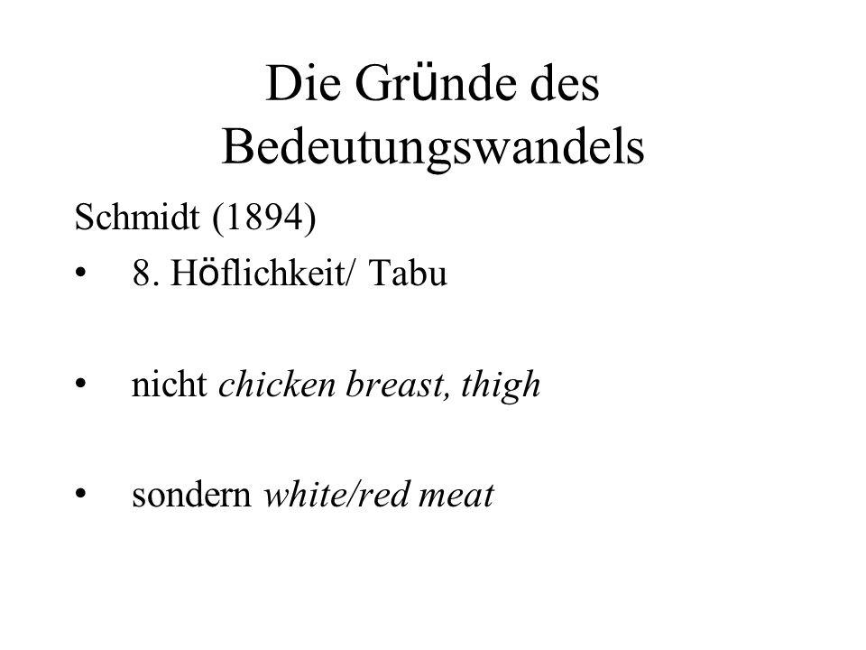 Die Gr ü nde des Bedeutungswandels Schmidt (1894) 8. H ö flichkeit/ Tabu nicht chicken breast, thigh sondern white/red meat