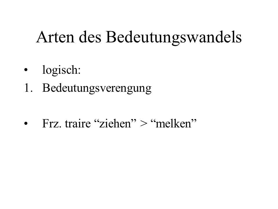 """Arten des Bedeutungswandels logisch: 1.Bedeutungsverengung Frz. traire """"ziehen"""" > """"melken"""""""
