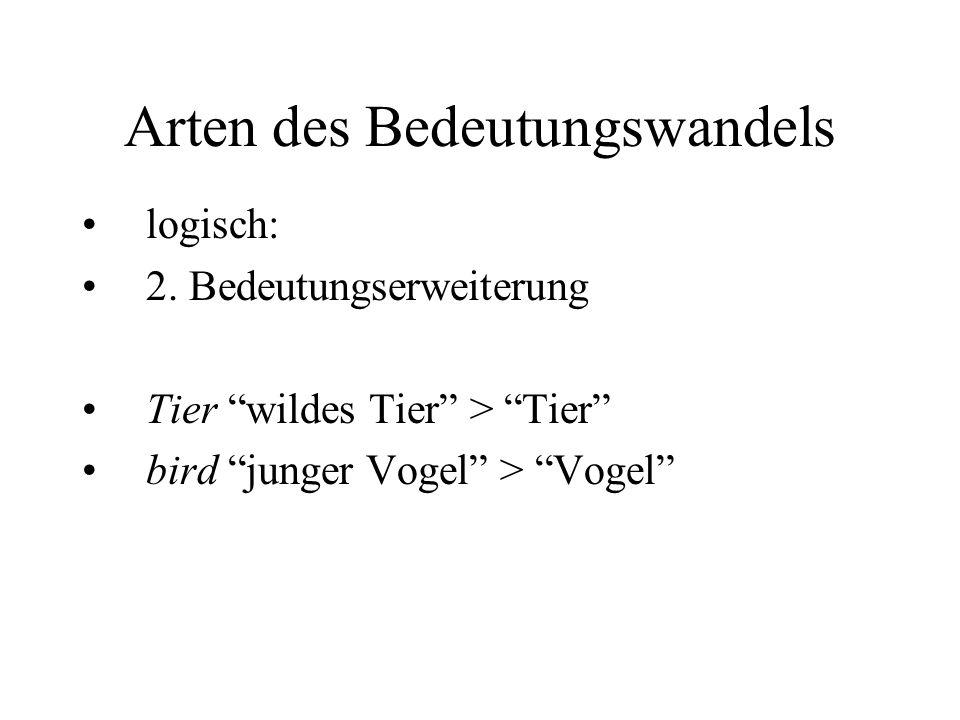"""Arten des Bedeutungswandels logisch: 2. Bedeutungserweiterung Tier """"wildes Tier"""" > """"Tier"""" bird """"junger Vogel"""" > """"Vogel"""""""