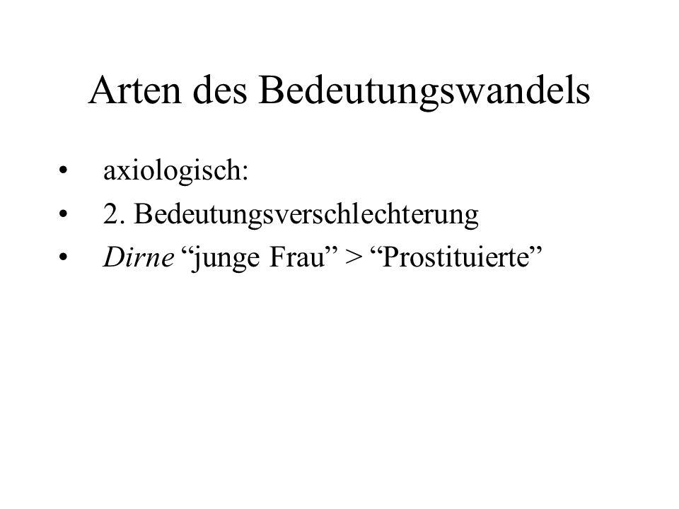 "Arten des Bedeutungswandels axiologisch: 2. Bedeutungsverschlechterung Dirne ""junge Frau"" > ""Prostituierte"""