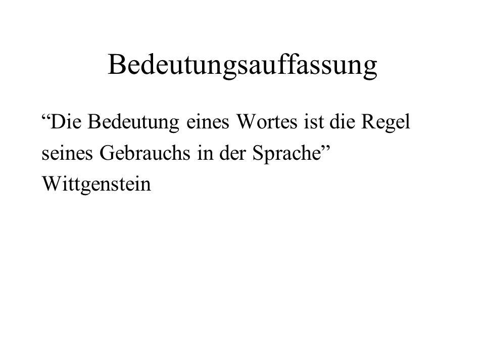 """Bedeutungsauffassung """"Die Bedeutung eines Wortes ist die Regel seines Gebrauchs in der Sprache"""" Wittgenstein"""