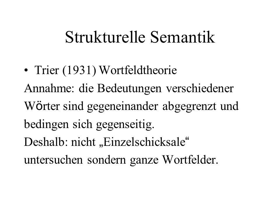 Strukturelle Semantik Trier (1931) Wortfeldtheorie Annahme: die Bedeutungen verschiedener W ö rter sind gegeneinander abgegrenzt und bedingen sich geg