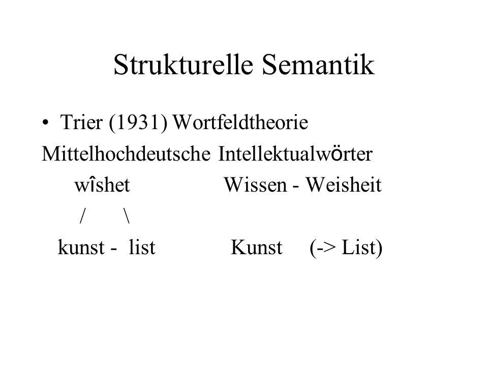 Strukturelle Semantik Trier (1931) Wortfeldtheorie Mittelhochdeutsche Intellektualw ö rter w î shet Wissen - Weisheit / \ kunst - list Kunst (-> List)