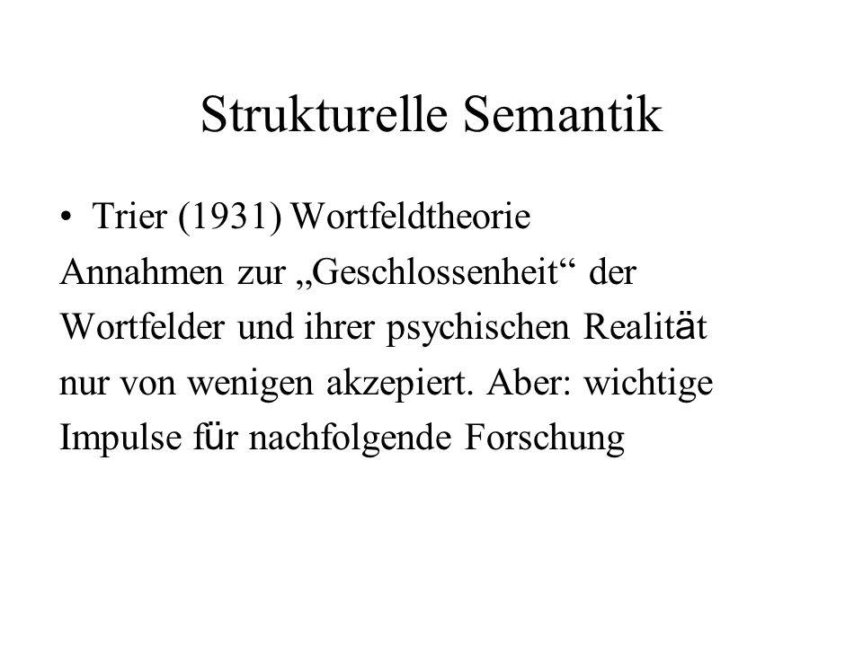 """Strukturelle Semantik Trier (1931) Wortfeldtheorie Annahmen zur """"Geschlossenheit"""" der Wortfelder und ihrer psychischen Realit ä t nur von wenigen akze"""