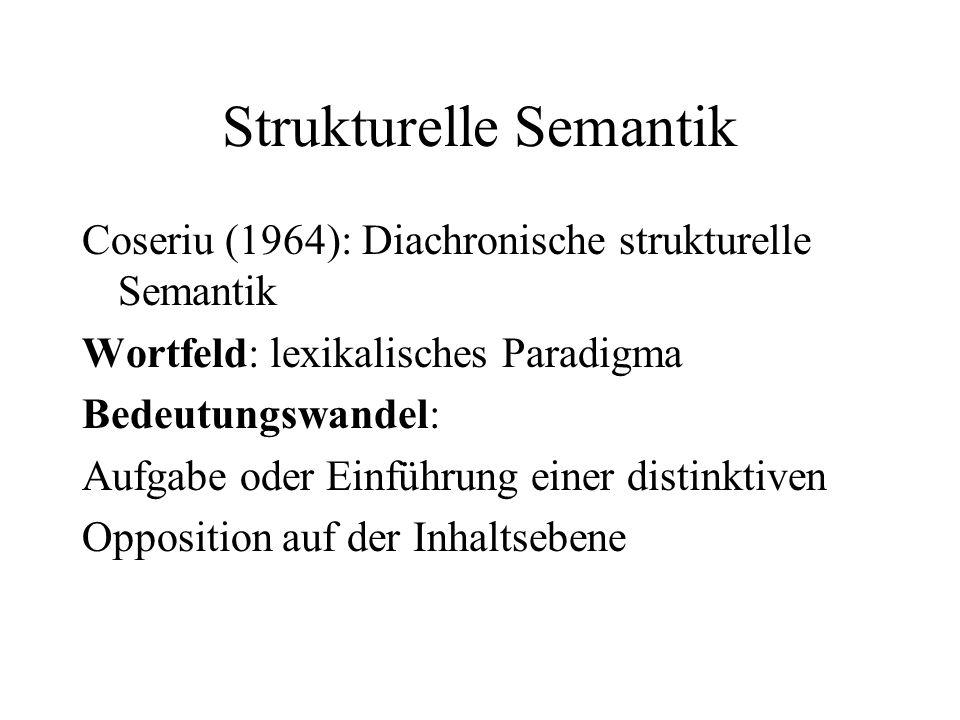 Strukturelle Semantik Coseriu (1964): Diachronische strukturelle Semantik Wortfeld: lexikalisches Paradigma Bedeutungswandel: Aufgabe oder Einführung