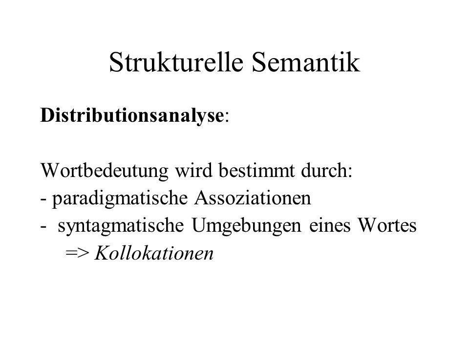 Strukturelle Semantik Distributionsanalyse: Wortbedeutung wird bestimmt durch: - paradigmatische Assoziationen -syntagmatische Umgebungen eines Wortes