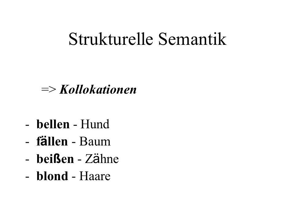Strukturelle Semantik => Kollokationen -bellen - Hund -f ä llen - Baum -bei ß en - Z ä hne -blond - Haare