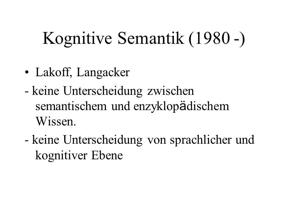 Kognitive Semantik (1980 -) Lakoff, Langacker - keine Unterscheidung zwischen semantischem und enzyklop ä dischem Wissen. - keine Unterscheidung von s