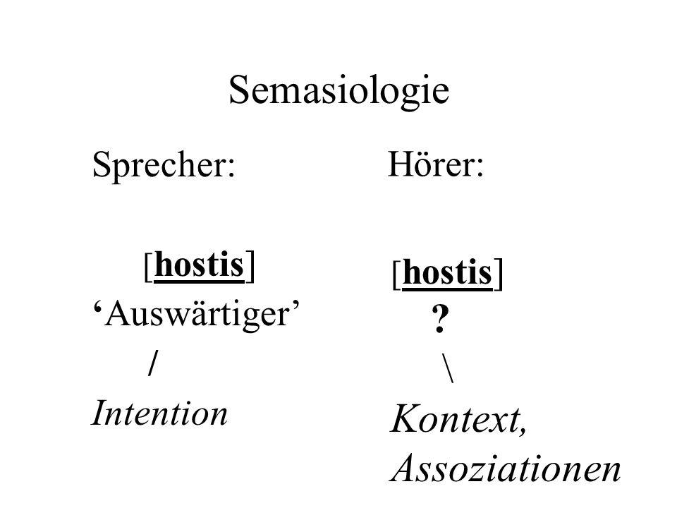 Semasiologie Sprecher: [ hostis] 'Auswärtiger' / Intention [ hostis] ? \ Kontext, Assoziationen Hörer:
