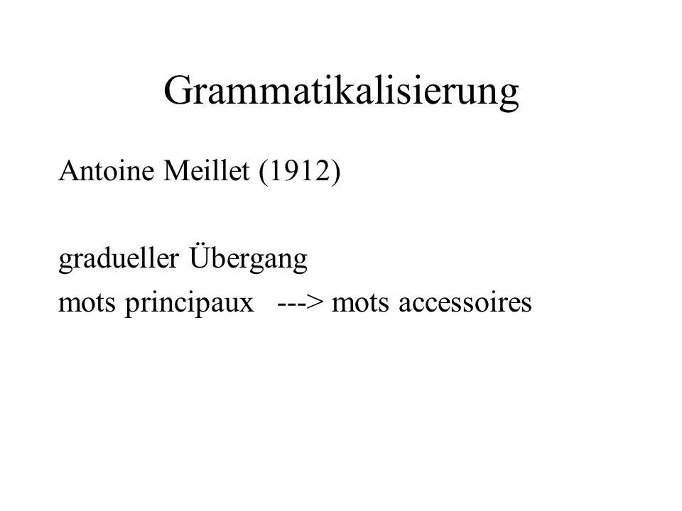 Grammatikalisierung Antoine Meillet (1912) gradueller Übergang mots principaux ---> mots accessoires