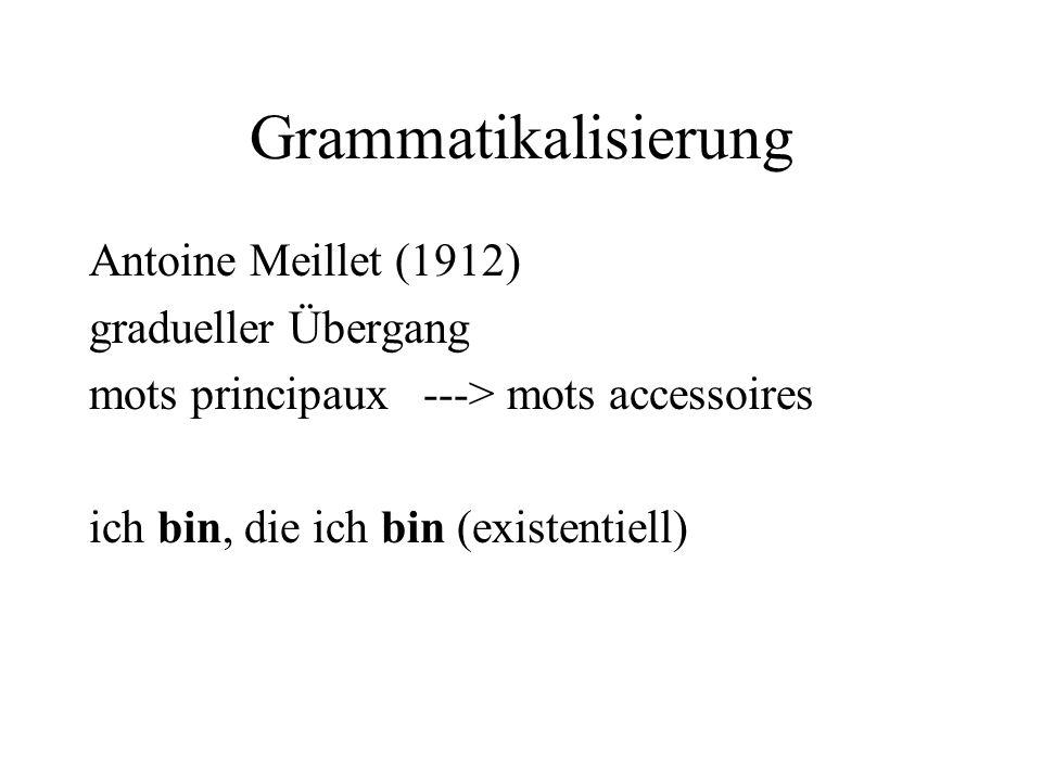 Grammatikalisierung Antoine Meillet (1912) gradueller Übergang mots principaux ---> mots accessoires ich bin, die ich bin (existentiell)