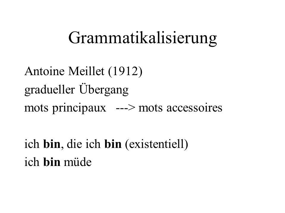 Grammatikalisierung Antoine Meillet (1912) gradueller Übergang mots principaux ---> mots accessoires ich bin, die ich bin (existentiell) ich bin müde
