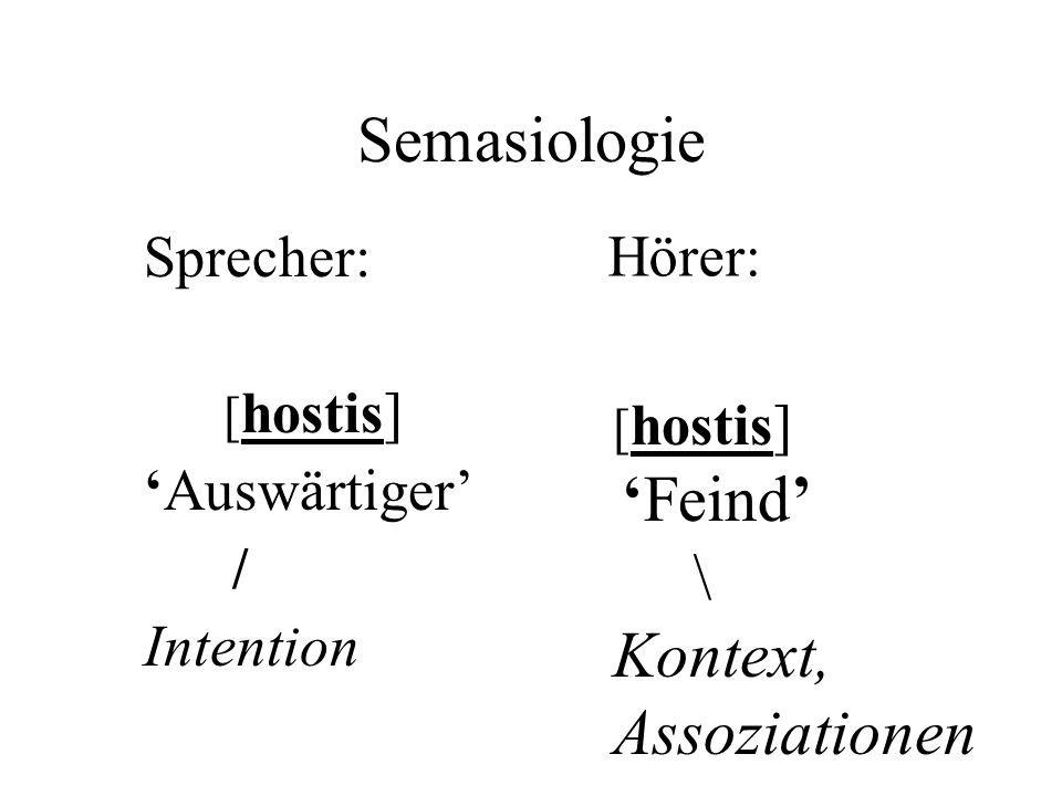 Semasiologie Sprecher: [ hostis] 'Auswärtiger' / Intention [ hostis] 'Feind' \ Kontext, Assoziationen Hörer: