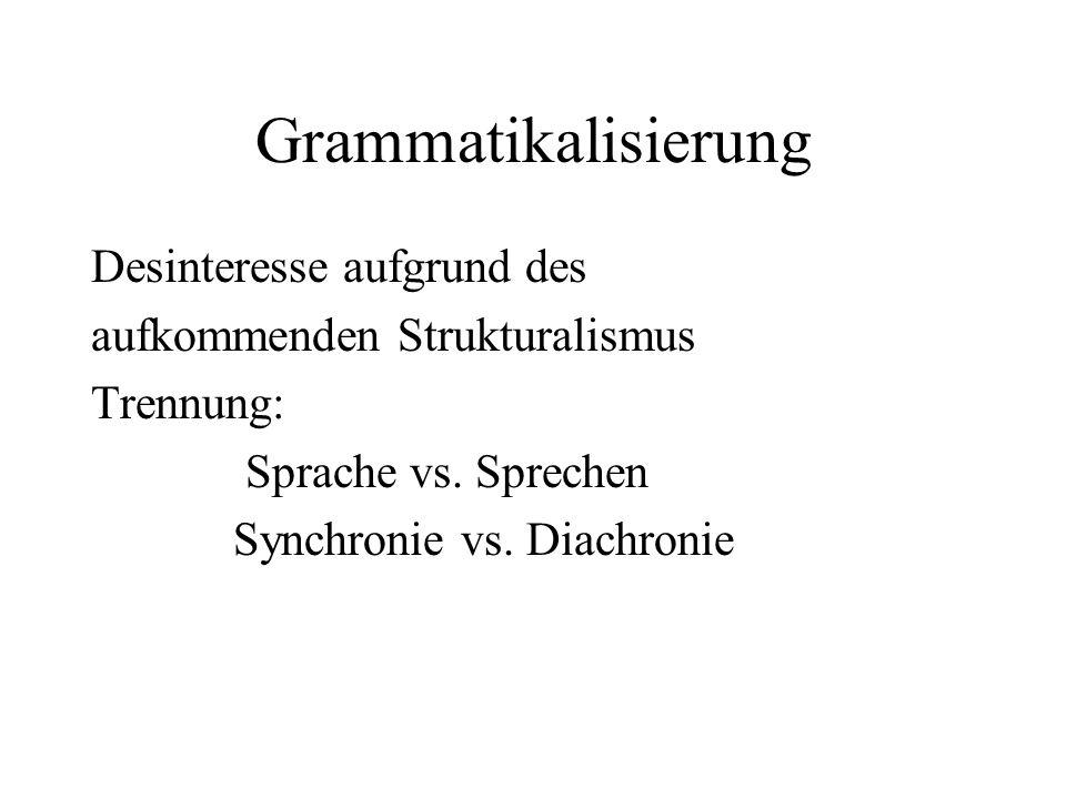 Grammatikalisierung Desinteresse aufgrund des aufkommenden Strukturalismus Trennung: Sprache vs. Sprechen Synchronie vs. Diachronie