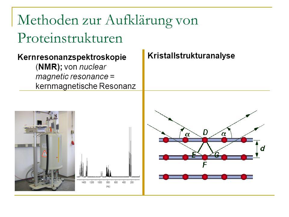 Methoden zur Aufklärung von Proteinstrukturen Kernresonanzspektroskopie (NMR); von nuclear magnetic resonance = kernmagnetische Resonanz Kristallstrukturanalyse