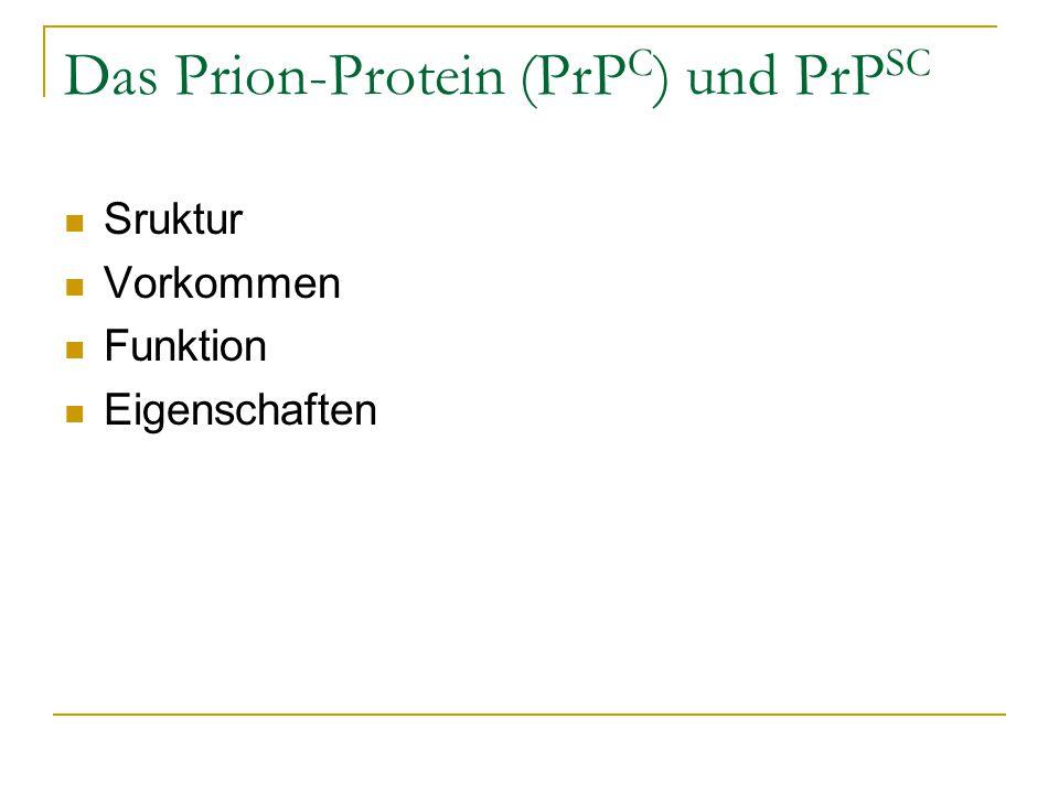 Das Prion-Protein (PrP C ) und PrP SC Sruktur Vorkommen Funktion Eigenschaften