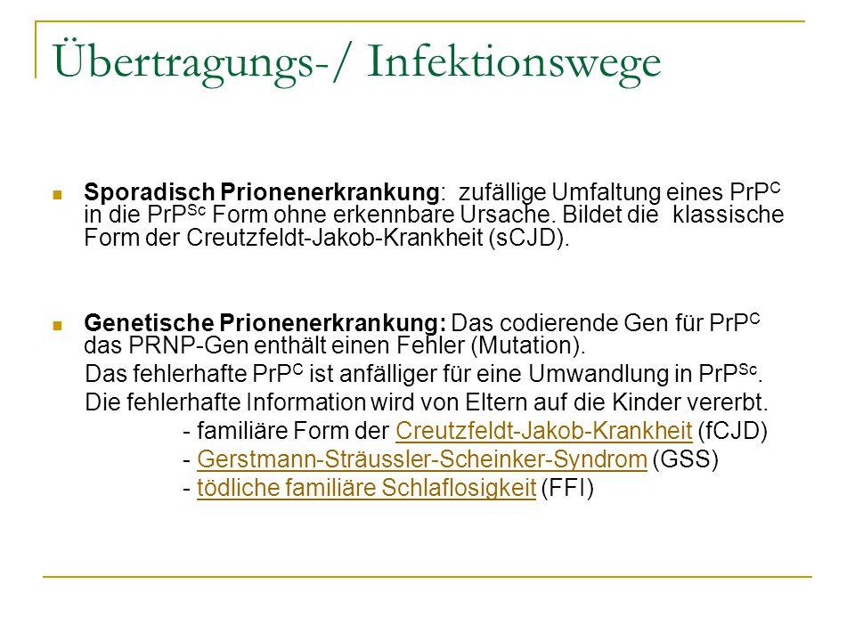 Übertragungs-/ Infektionswege Sporadisch Prionenerkrankung: zufällige Umfaltung eines PrP C in die PrP Sc Form ohne erkennbare Ursache. Bildet die kla