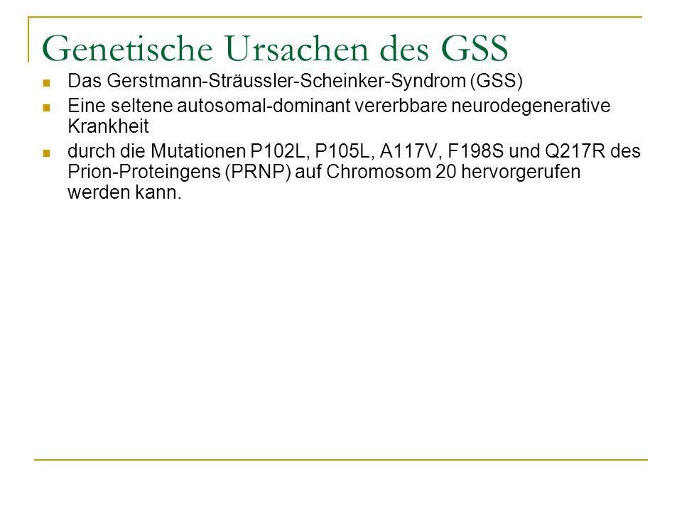 Genetische Ursachen des GSS Das Gerstmann-Sträussler-Scheinker-Syndrom (GSS) Eine seltene autosomal-dominant vererbbare neurodegenerative Krankheit durch die Mutationen P102L, P105L, A117V, F198S und Q217R des Prion-Proteingens (PRNP) auf Chromosom 20 hervorgerufen werden kann.