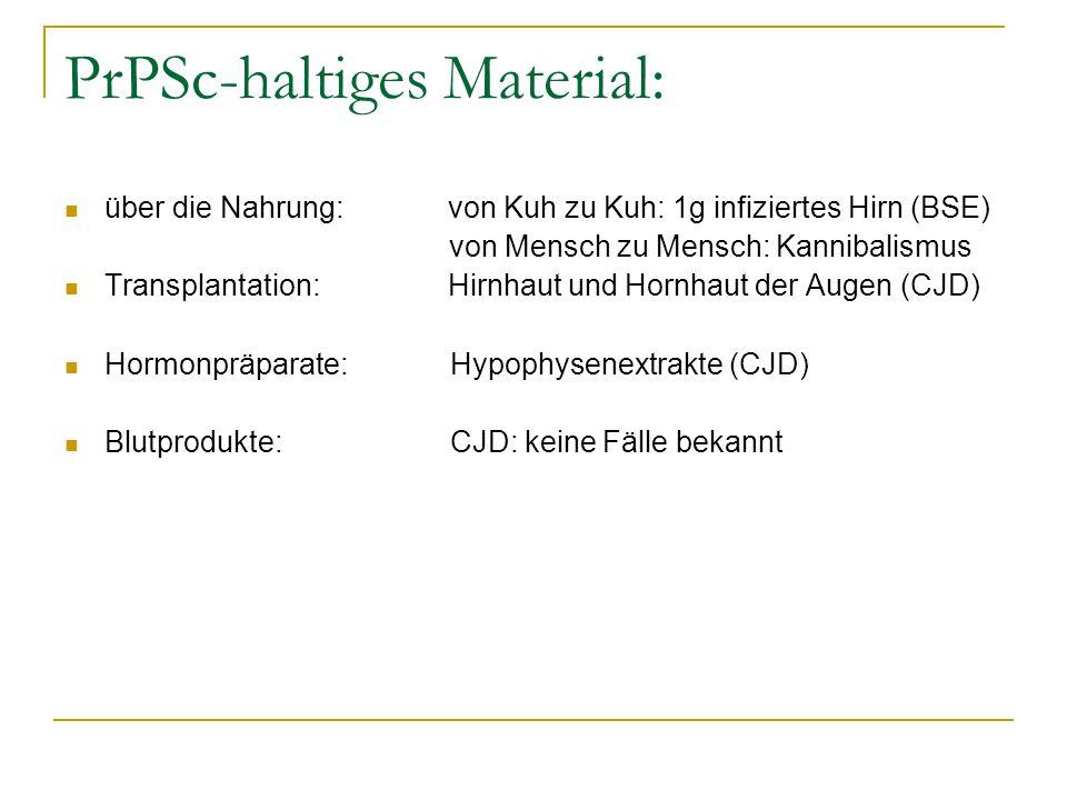 PrPSc-haltiges Material: über die Nahrung: von Kuh zu Kuh: 1g infiziertes Hirn (BSE) von Mensch zu Mensch: Kannibalismus Transplantation: Hirnhaut und Hornhaut der Augen (CJD) Hormonpräparate: Hypophysenextrakte (CJD) Blutprodukte: CJD: keine Fälle bekannt