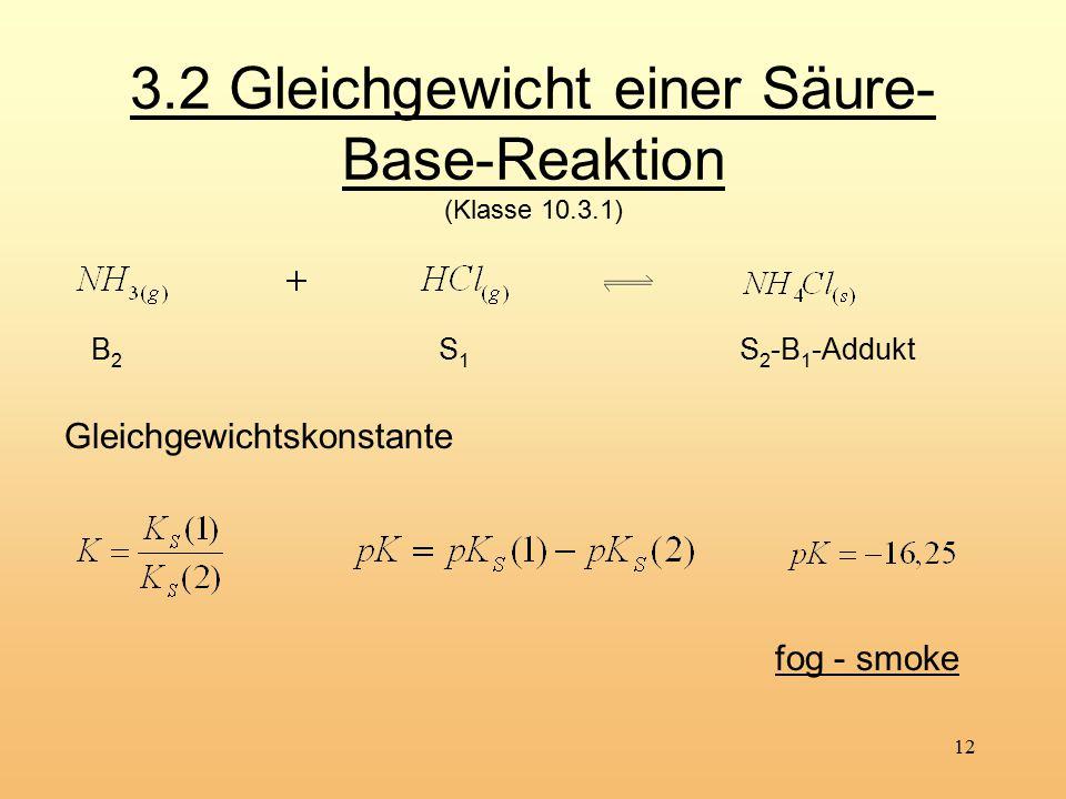 12 3.2 Gleichgewicht einer Säure- Base-Reaktion (Klasse 10.3.1) fog - smoke S 2 -B 1 -Addukt S1 S1 B2B2 Gleichgewichtskonstante