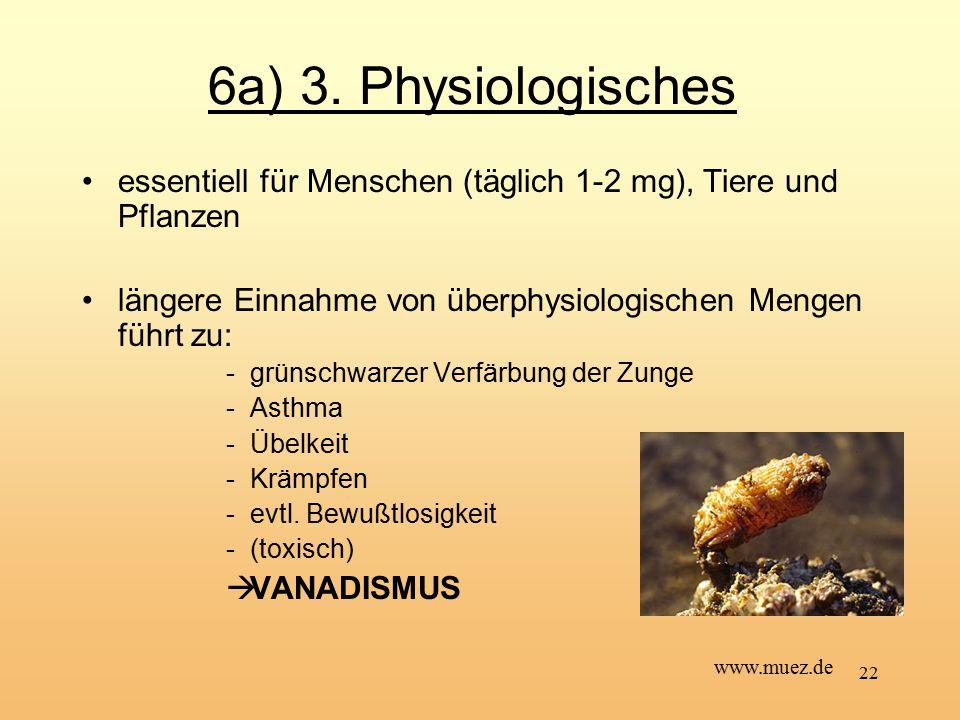 22 6a) 3. Physiologisches essentiell für Menschen (täglich 1-2 mg), Tiere und Pflanzen längere Einnahme von überphysiologischen Mengen führt zu: -grün