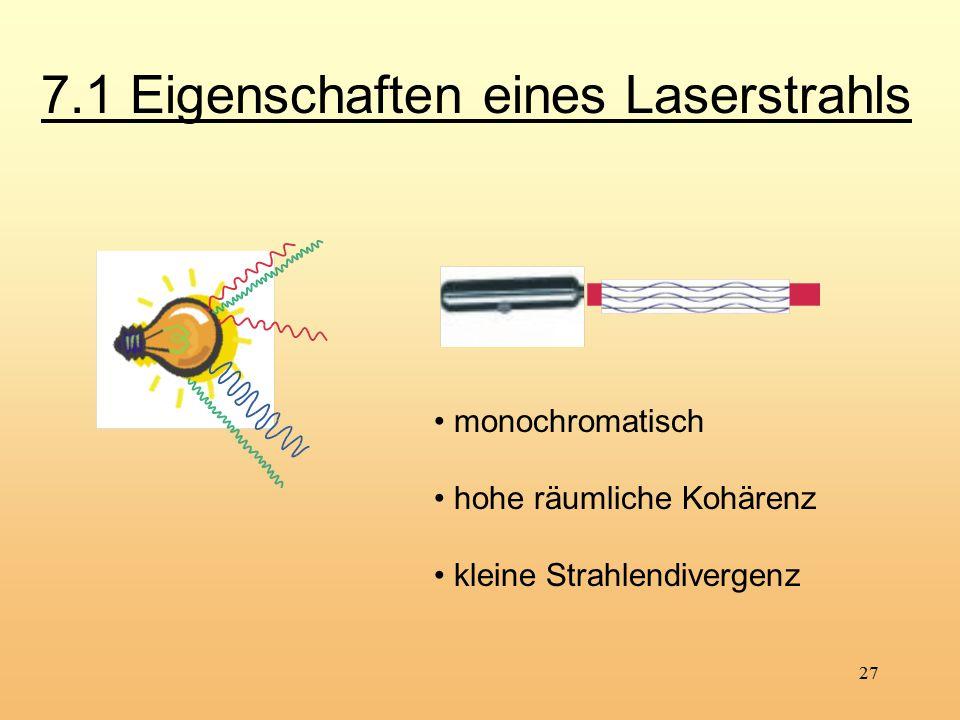27 monochromatisch hohe räumliche Kohärenz kleine Strahlendivergenz 7.1 Eigenschaften eines Laserstrahls