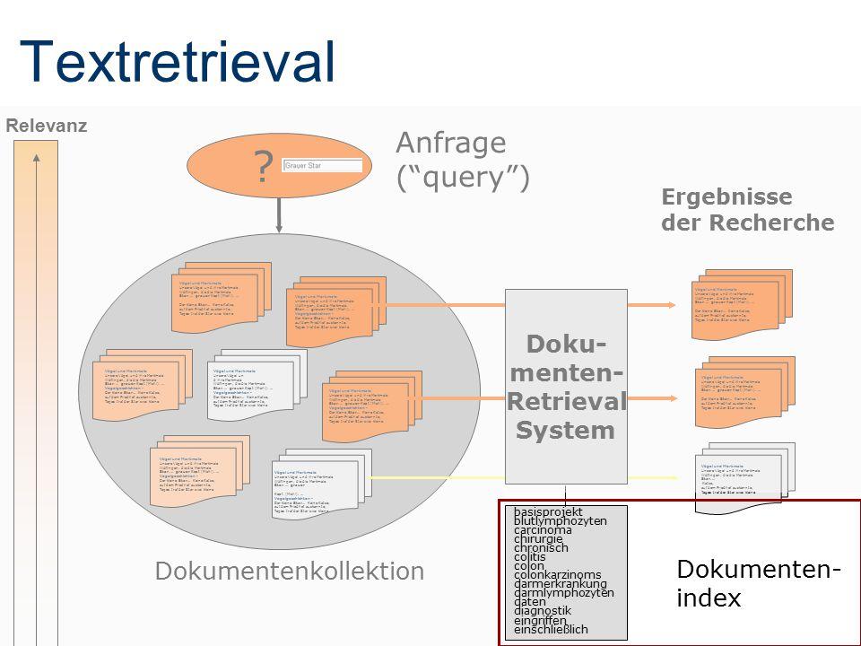 """Textretrieval Ergebnisse der Recherche Anfrage (""""query"""") ? Dokumentenkollektion Doku- menten- Retrieval System Vögel und Merkmale Unsere Vögel und ihr"""