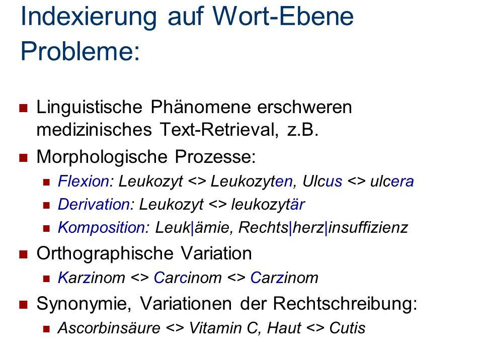 Indexierung auf Wort-Ebene Probleme: Linguistische Phänomene erschweren medizinisches Text-Retrieval, z.B. Morphologische Prozesse: Flexion: Leukozyt
