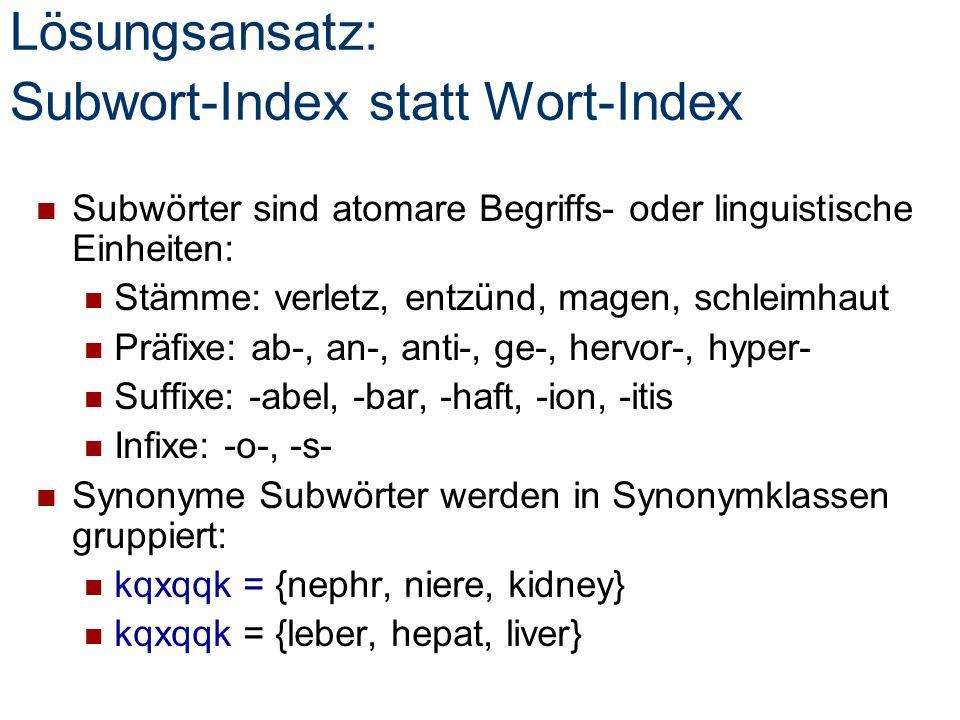 Lösungsansatz: Subwort-Index statt Wort-Index Subwörter sind atomare Begriffs- oder linguistische Einheiten: Stämme: verletz, entzünd, magen, schleimh