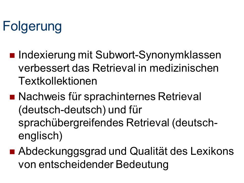 Folgerung Indexierung mit Subwort-Synonymklassen verbessert das Retrieval in medizinischen Textkollektionen Nachweis für sprachinternes Retrieval (deu