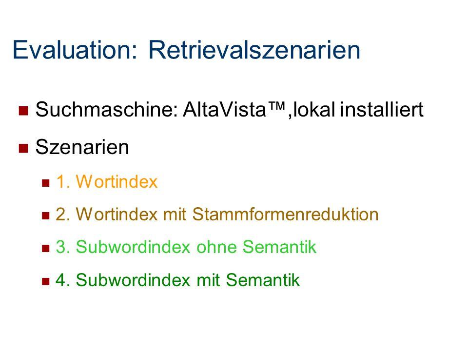 Suchmaschine: AltaVista™,lokal installiert Szenarien 1. Wortindex 2. Wortindex mit Stammformenreduktion 3. Subwordindex ohne Semantik 4. Subwordindex