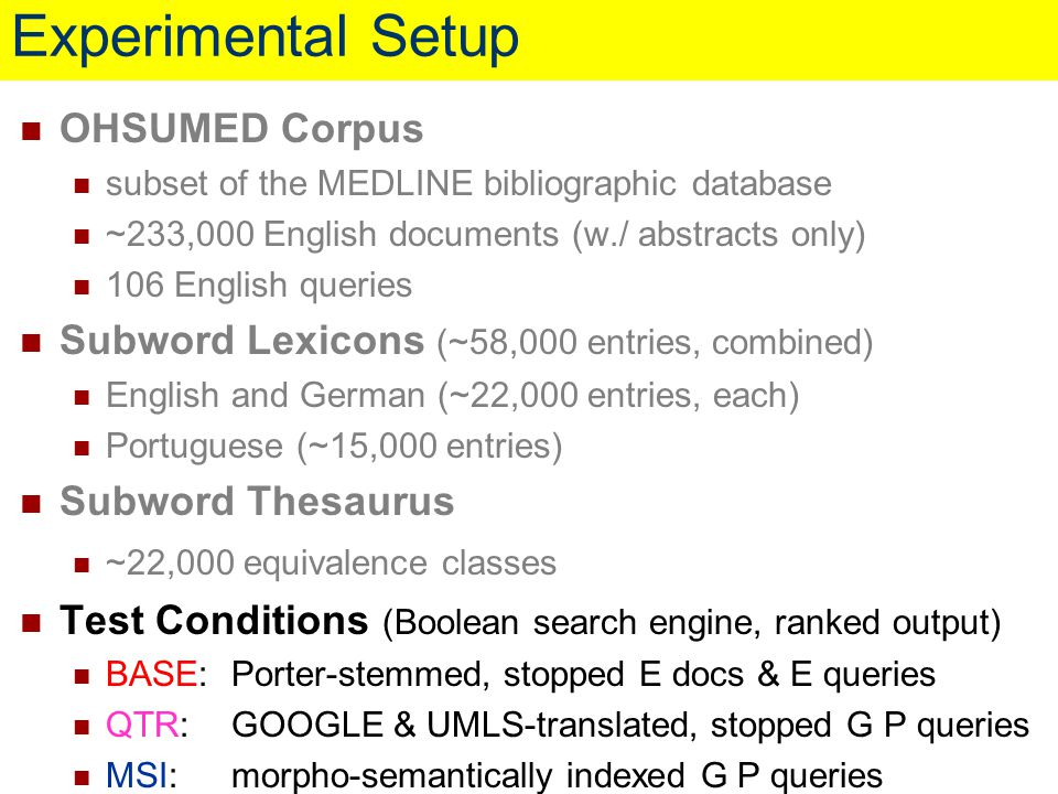 OHSUMED Corpus subset of the MEDLINE bibliographic database ~233,000 English documents (w./ abstracts only) 106 English queries Subword Lexicons (~58,