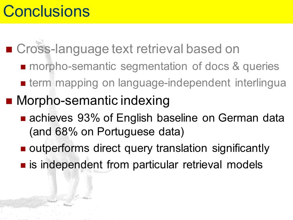 Cross-language text retrieval based on morpho-semantic segmentation of docs & queries term mapping on language-independent interlingua Morpho-semantic