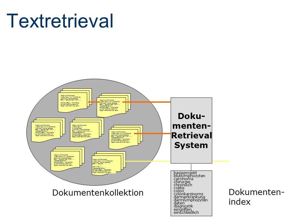 Textretrieval Dokumentenkollektion Doku- menten- Retrieval System Vögel und Merkmale Unsere Vögel und ihre Merkmale Wölflingen, die die Merkmale Star.