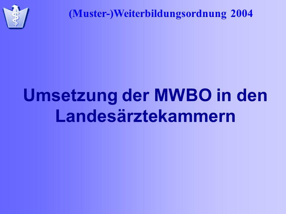 Umsetzung der MWBO in den Landesärztekammern