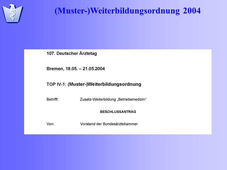 (Muster-)Weiterbildungsordnung 2004