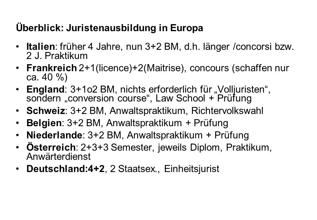 Überblick: Juristenausbildung in Europa Italien: früher 4 Jahre, nun 3+2 BM, d.h. länger /concorsi bzw. 2 J. Praktikum Frankreich 2+1(licence)+2(Maitr