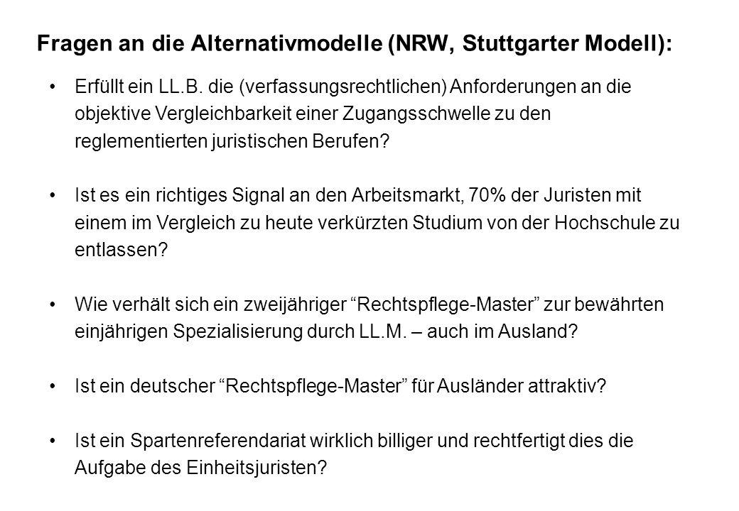 Fragen an die Alternativmodelle (NRW, Stuttgarter Modell): Erfüllt ein LL.B. die (verfassungsrechtlichen) Anforderungen an die objektive Vergleichbark