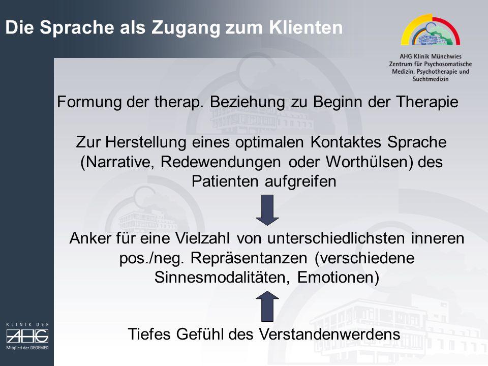 Die Sprache als Zugang zum Klienten Formung der therap. Beziehung zu Beginn der Therapie Zur Herstellung eines optimalen Kontaktes Sprache (Narrative,