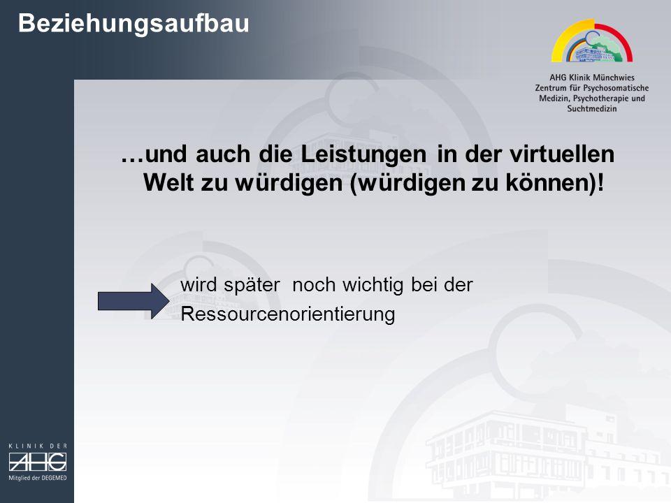 Beziehungsaufbau …und auch die Leistungen in der virtuellen Welt zu würdigen (würdigen zu können).
