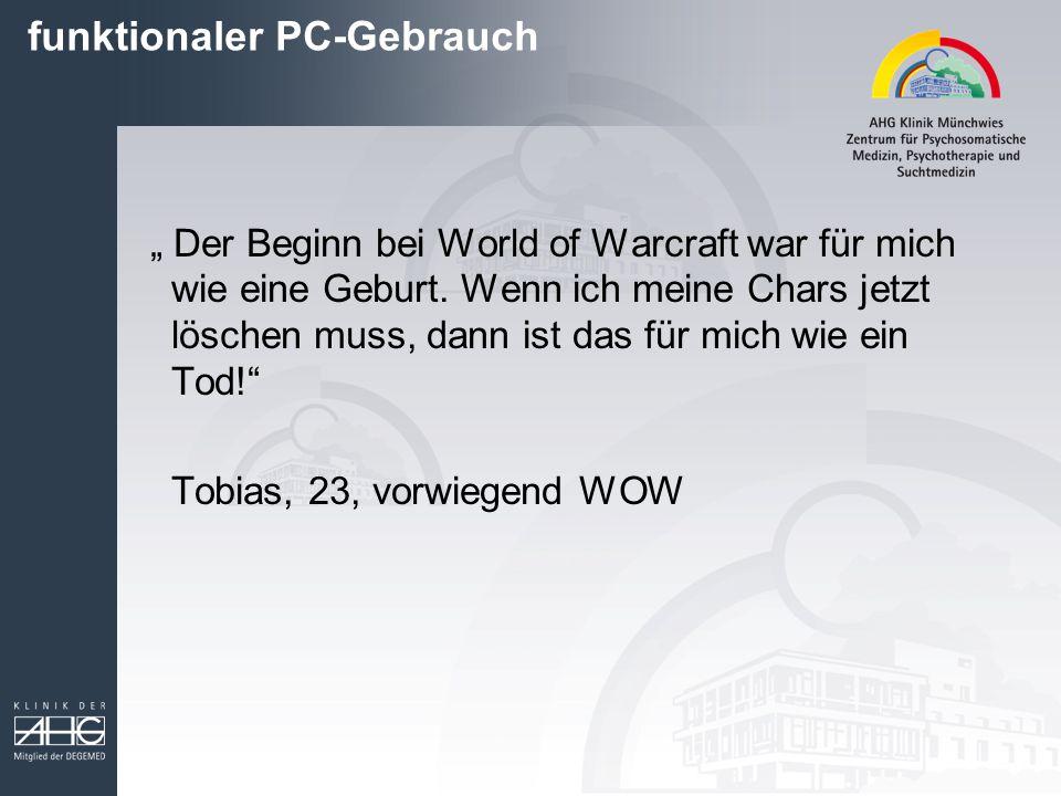 """"""" Der Beginn bei World of Warcraft war für mich wie eine Geburt. Wenn ich meine Chars jetzt löschen muss, dann ist das für mich wie ein Tod!"""" Tobias,"""