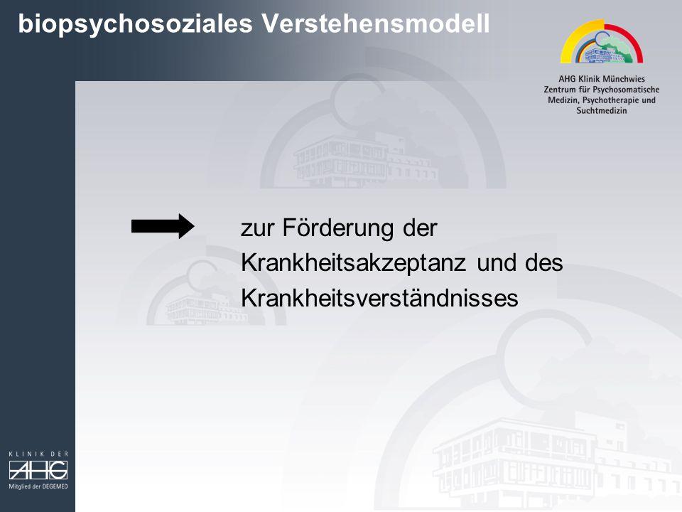 biopsychosoziales Verstehensmodell zur Förderung der Krankheitsakzeptanz und des Krankheitsverständnisses