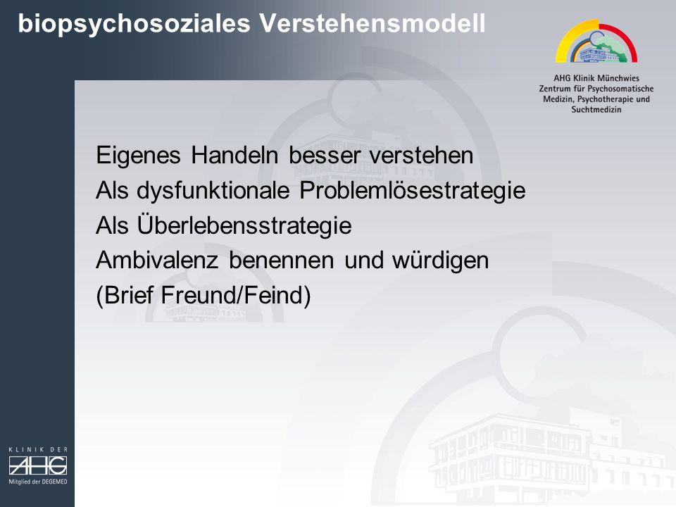 biopsychosoziales Verstehensmodell Eigenes Handeln besser verstehen Als dysfunktionale Problemlösestrategie Als Überlebensstrategie Ambivalenz benennen und würdigen (Brief Freund/Feind)
