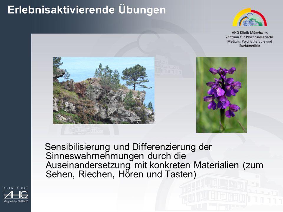 Erlebnisaktivierende Übungen Sensibilisierung und Differenzierung der Sinneswahrnehmungen durch die Auseinandersetzung mit konkreten Materialien (zum