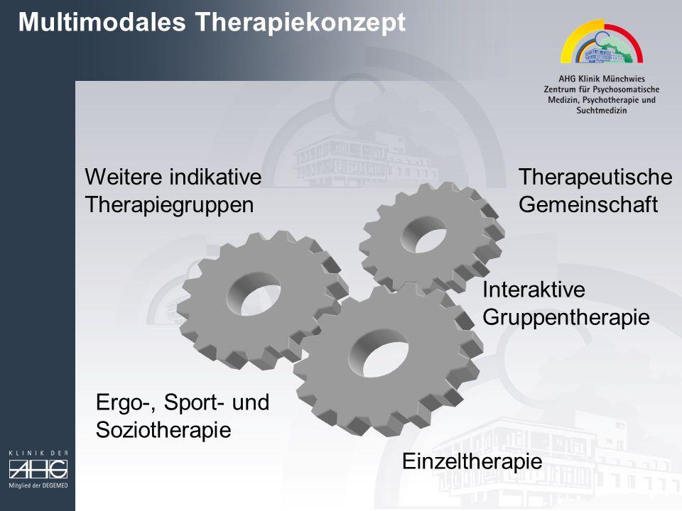 Multimodales Therapiekonzept Therapeutische Gemeinschaft Interaktive Gruppentherapie Einzeltherapie Ergo-, Sport- und Soziotherapie Weitere indikative Therapiegruppen