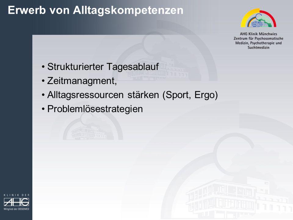 Erwerb von Alltagskompetenzen Strukturierter Tagesablauf Zeitmanagment, Alltagsressourcen stärken (Sport, Ergo) Problemlösestrategien