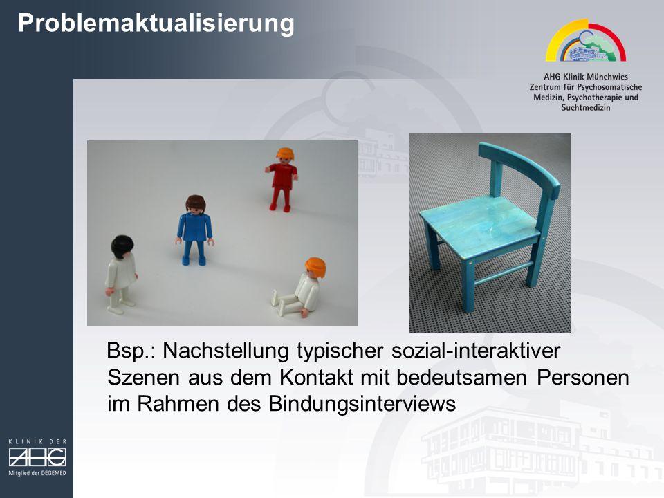 Problemaktualisierung Bsp.: Nachstellung typischer sozial-interaktiver Szenen aus dem Kontakt mit bedeutsamen Personen im Rahmen des Bindungsinterviews
